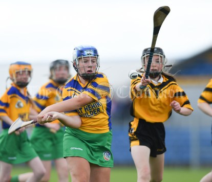 Orlaith Hehir of Inagh/Cloonanaha in action against Ellie Ward of Clonlara during their Schools Division 1 final at Cusack Park. Photograph by John Kelly
