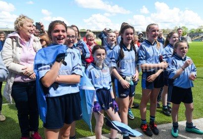 Victorious Cooraclare/Cree/Clohanbeg players following their Division 2 LGFA Ladies Football Primary Schools final at Cusack park. Photograph by John Kelly