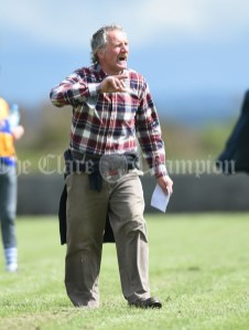 Kilmurry Mc Mahon/Labasheeda mentor Martin Keogh on the sideline against Rineen during their Primary Schools Div 4 Football 9-Aside final at Kilrush. Photograph by John Kelly