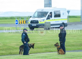 High security outside Shannon ahead of the arrival of the President of the United States Of America Donald J. Trump to Shannon. Photograph by John Kelly.