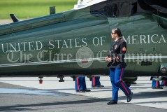 A helicopter is inspected ahead of the arrival of the arrival of the President of the United States Of America Donald J. Trump to Shannon. Photograph by John Kelly.