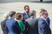 Taoiseach Leo Varadakar and the rest of the welcoming party await the arrival of President of the United States Of America Donald J. Trump to Shannon. Photograph by John Kelly.