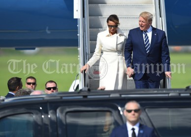 President of the United States Of America Donald J. Trump accompanied by First Lady Melania Trump, greets the waiting Taoiseach Leo Varadakar as they step out of Air Force 1 at Shannon. Photograph by John Kelly.