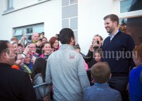 Eric and Don Junior Trump are greeted warmly as they arrive for a walkabout in Doonbeg Village. Photograph by John Kelly