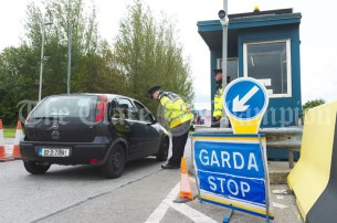 A Garda checkpoint on the entrance to Shannon Airport. Photograph by John Kelly.