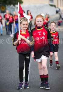 Lily Cronin and Sarah Mc mahon marching for Cuil Gaels during the annual parade as part of the Dan Furey Festival in Labasheeda. Photograph by John Kelly
