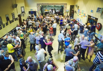A packed parish hall as the Johnny Reidy Ceili Band playing for a ceili as part of the Dan Furey Festival in Labasheeda. Photograph by John Kelly