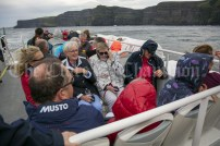 230819 Trying to stay dry on the RNLI fund raising cruise to the Cliffs of Moher and Inis Oir with Doolin2Aran Ferries Star of Doolin on Friday evening.Pic Arthur Ellis.