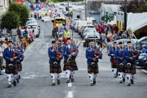 The visiting Tulla Pipe band lead the Cultural Parade as part of the annual Festival Of Fun in Kilmihil. Photograph by John Kelly