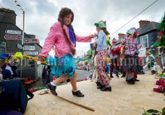 Grace Fennell and friends stepping it out on their float during the Cultural Parade as part of the annual Festival Of Fun in Kilmihil. Photograph by John Kelly