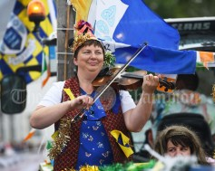 Grainne Marrinan playing for the dancers during the Cultural Parade as part of the annual Festival Of Fun in Kilmihil. Photograph by John Kelly