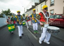 Samba Cuisle's colourful drummers parade through the streets during the Cultural Parade as part of the annual Festival Of Fun in Kilmihil. Photograph by John Kelly