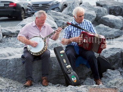 Musicians Paddy Mc Grath and Seamus Bugler entertaining the passengers during the Romantic RNLI Cruise held in association with Bill O Brien's Doolin Ferry Company. Photograph by John Kelly