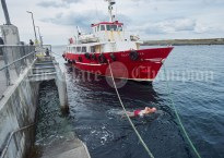 Dublin's Ken Brady taking his daily swim before the Romantic RNLI Cruise held in association with Bill O Brien's Doolin Ferry Company. Photograph by John Kelly