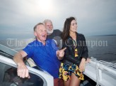 Doolin's Mattie Shannon and Tom Doherty point out the sights to former Miss Clare Lauren Guilfoyle during the Romantic RNLI Cruise held in association with Bill O Brien's Doolin Ferry Company. Photograph by John Kelly