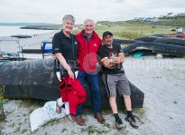 Eileen and Bill O Brien of The Doolin Ferry Company with Richie Callaghan on Inisheer during the Romantic RNLI Cruise held in association with Bill O Brien's Doolin Ferry Company. Photograph by John Kelly