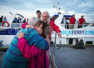 Mary and Frankie O Gorman say goodbye to event organiser Joe Queally following the Romantic RNLI Cruise held in association with Bill O Brien's Doolin Ferry Company. Photograph by John Kelly