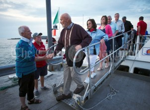 Mullagh's Patrick and Eleanor O Dwyer say goodbye to event organiser Joe Queally following the Romantic RNLI Cruise held in association with Bill O Brien's Doolin Ferry Company. Photograph by John Kelly