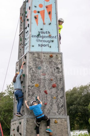 020819 On the climbing wall at the Scariff harbour festival on Sunday.pic Arthur Ellis.