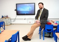 Principal Dara Glynn during the first day of school at the newly built Ennis CBS primary school. Photograph by John Kelly