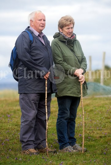 Michael and Margaret Conlan of Ennistymon taking in the views before heading off on the Burren Ramble in aid of the RNLI at Fanore. Photograph by John Kelly