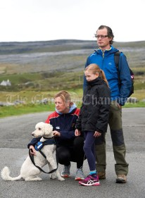 Siobhan, Caoimhe and Keir Mc Namara about to head off with Jessa on the Burren Ramble in aid of the RNLI at Fanore. Photograph by John Kelly