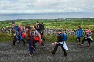 The walkers head up the side of Slieve Elva during the Burren Ramble in aid of the RNLI at Fanore. Photograph by John Kelly