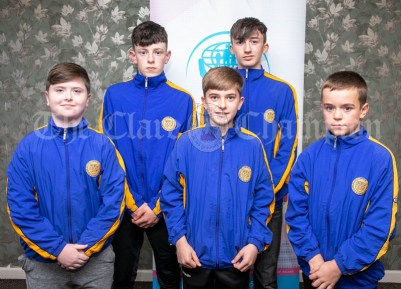 270919 Community Games All Stars L-R JMatthew Coughlan, Quin Clooney, Niall Murphy, Quin Clooney, Colm McMahon, Doonbeg, Harry Hamel, Inch Kilmaley Connolly and Diarmuid Crowe, Newmarket. Pic Arthur Ellis.