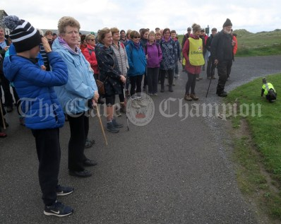 Walkers gather at Fanore beach for the stary of the Burren Ramble in aid of the RNLI on Sunday.