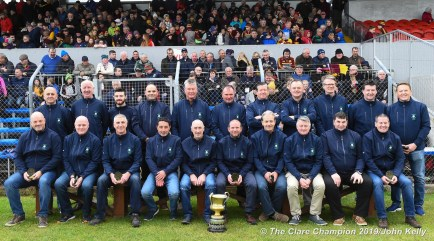 The 1994 county final winning Faughs team, captained by Seanie Lyne, who were honoured at half time during the senior football county final at Cusack Park. Photograph by John Kelly.