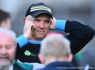 Aiden Moloney, Kilmurry Ibrickane manager, takes a call following their senior football county final drawn game at Cusack Park. Photograph by John Kelly.