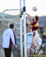 Cormac Murray of Miltown comes close to scoring a goal during their senior football county final replay at Cusack Park. Photograph by John Kelly.