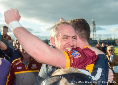 David O Brien, Miltown manager, and Darragh Mc Donagh of Miltown following their senior football county final replay win over KIB at Cusack Park. Photograph by John Kelly.