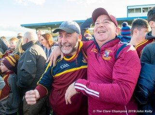 Miltown fans celebrate following their senior football county final replay win over KIB at Cusack Park. Photograph by John Kelly.