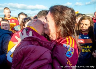 Eoin O Brien of Miltown is congratulated by Geraldine Looney following their senior football county final replay win over KIB at Cusack Park. Photograph by John Kelly.