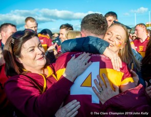 Eoin O Brien of Miltown is congratulated by supporters following their senior football county final replay win over KIB at Cusack Park. Photograph by John Kelly.