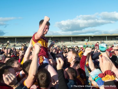 Eoin O Brien of Miltown is held on high as players and supporters celebrate following their senior football county final replay win over KIB at Cusack Park. Photograph by John Kelly.