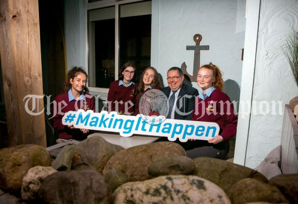 REPRO FREE 260919 Launching Local Enterprise Office Student Enterprise Programme 2019 was Finbar Tuohy, Local Enterprise Office Clare, with students from St Josephs Secondary School Spanish Point during Student Enterprise Induction Day at The Armada Hotel in Spanish Point.Pic Arthur Ellis.