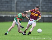 James Power of Rathgormack in action against Eoin O Brien of Miltown of during their Munster Club quarter final at Miltown. Photograph by John Kelly