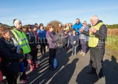 Joe Queally encouraging the walkers to take time out for reflection during the Shades Of Autumn 10k walk in aid of the RNLI on bank Holiday Monday at Shragh. Photograph by John Kelly.