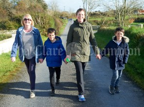 Mary Roche, her grandsons Hugo and Finn Watshan, and daughter Miriam taking part in the Shades Of Autumn 10k walk in aid of the RNLI on bank Holiday Monday at Shragh. Photograph by John Kelly.