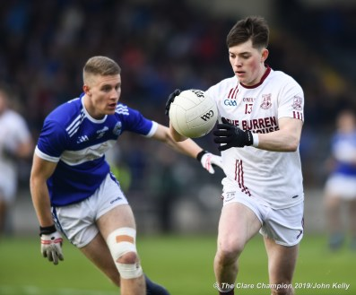 Colm O Brien of St Breckan's in action against Gavin Crowley of Templenoe during their Munster Club Intermediate final at Mallow. Photograph by John Kelly