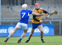 Domhnall Mc Mahon of Clare in action against Ciaran Mc Evoy of Laois during their National League game at Cusack Park. Photograph by John Kelly