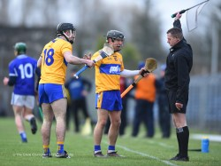 Ian Galvin and David Reidy of Clare question a linesman's decision during their National League game against Laois at Cusack Park. Photograph by John Kelly