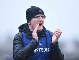 Clare manager Brian Lohan on the sideline during their National League game against Laois at Cusack Park. Photograph by John Kelly
