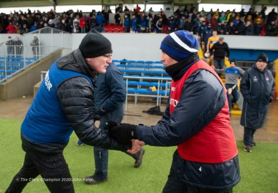 Clare manager Brian Lohan shakes hands with Eamonn O Braonain following their National League game against Laois at Cusack Park. Photograph by John Kelly