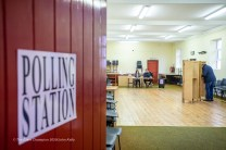 The scene at Ballinruan community Centre as voters cast their votes in the General Election 2020. Photograph by John Kelly.