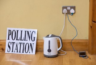 The kettle on the boil during voting in the General Election 2020 at Corofin Polling Station. Photograph by John Kelly.