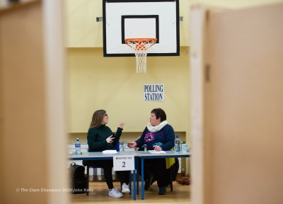 Muirne Mullane, Poll Clerk and Barbara Burke, Presiding Officer during voting in the General Election 2020. Photograph by John Kelly.