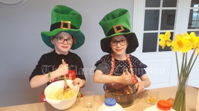 7 year old Twins Orla & Belle baking Paddy's Day goodies